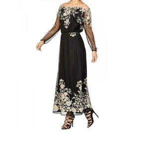 Nine West Black & Gold Embroidered Dress
